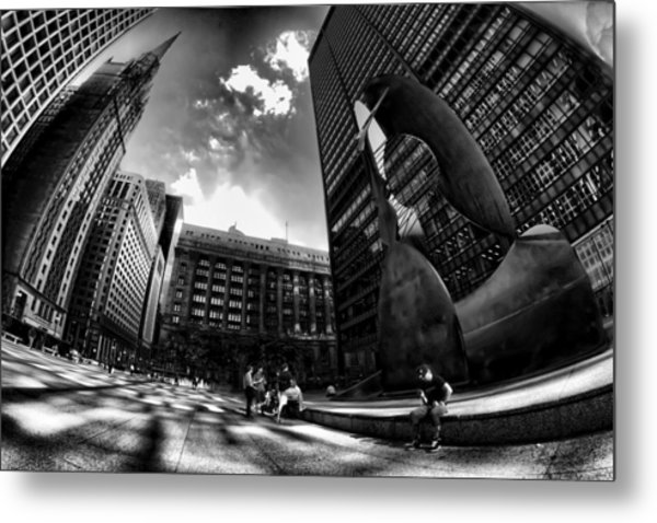 Chicago's Picasso With A Fisheye View Metal Print