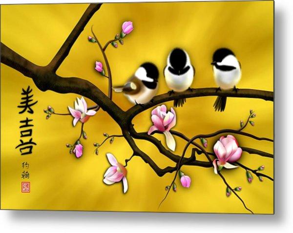 Chickadee On Blooming Magnolia Branch Metal Print