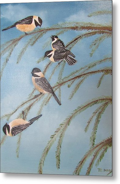 Chickadee Party Metal Print
