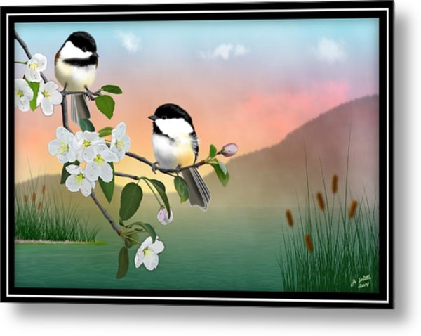 Chickadees And Apple Blossoms Metal Print