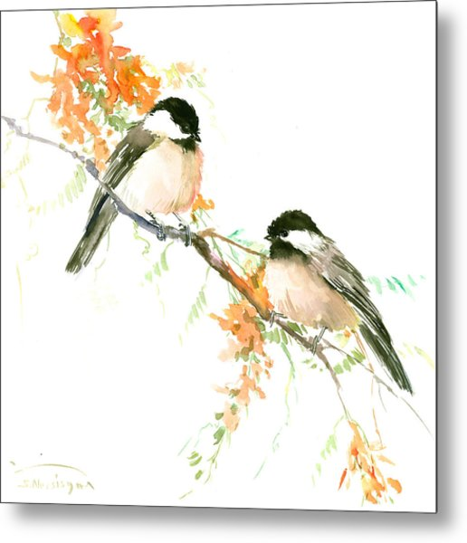 Chickadees And Orange Flowers Metal Print