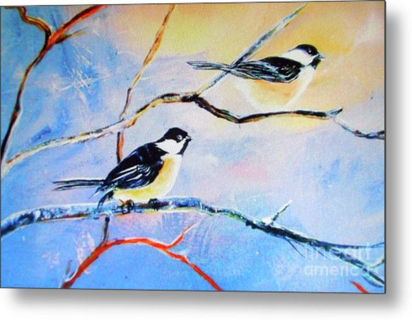 Black-capped Chickadees Limited Edition Prints 2-20 Set Decor In Wanderlust  Metal Print