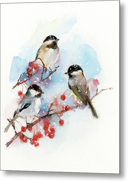 Chickadees With Berries Metal Print