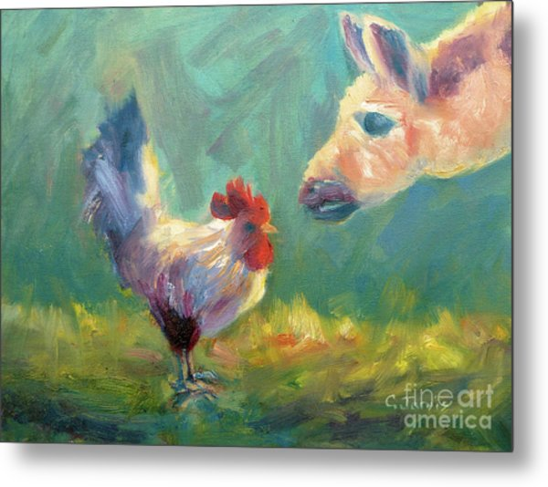 Chicken Meets Llama Metal Print