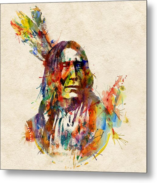 Chief Mojo Watercolor Metal Print