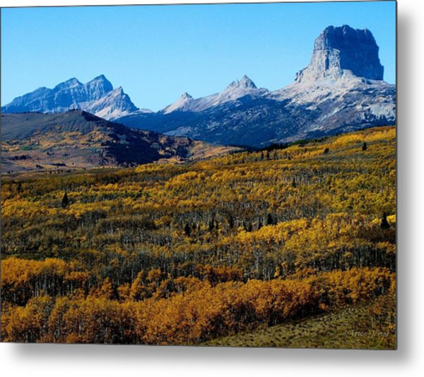 Chief Mountain In The Fall Metal Print