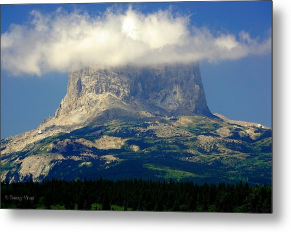 Chief Mountain, With Its Head In The Clouds Metal Print