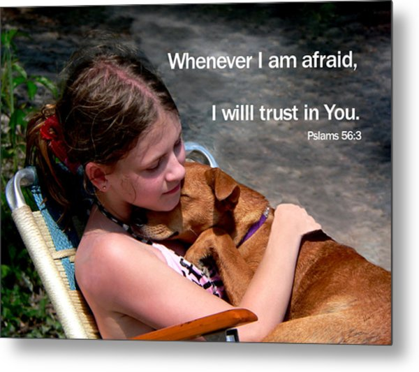 Child And Puppy Psalms Metal Print