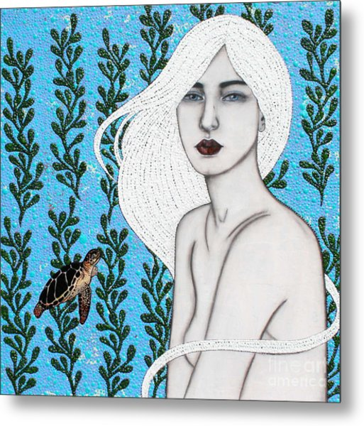 Metal Print featuring the mixed media Child Of The Ocean by Natalie Briney