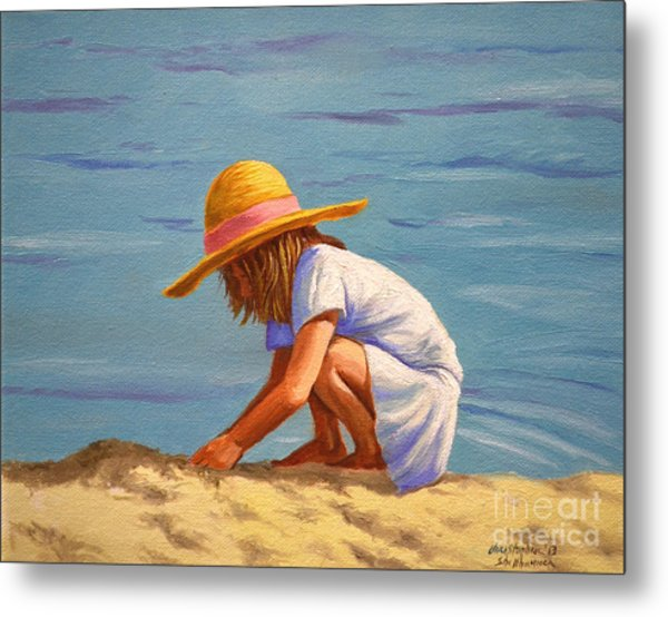 Child Playing In The Sand Metal Print