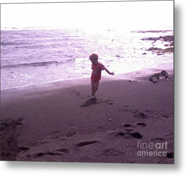 Child Running Black Sands Metal Print by Sacred  Muse