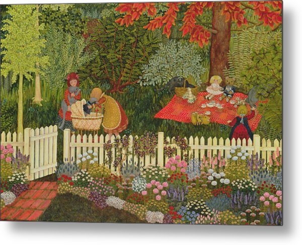 Children And Cats Metal Print