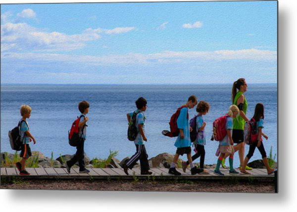 Children On Lake Walk Metal Print