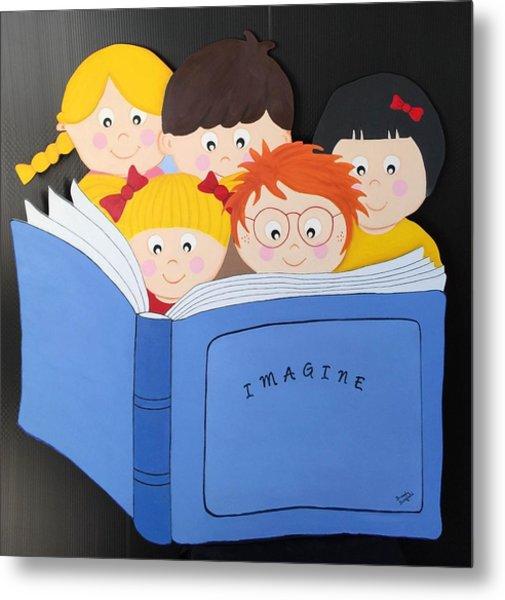 Children Reading Book Metal Print