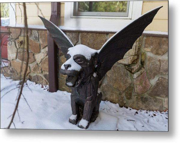 Chimera In The Snow Metal Print