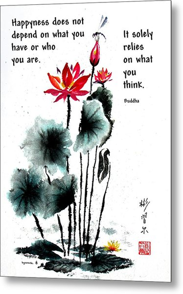 China Garden With Buddha Quote Metal Print