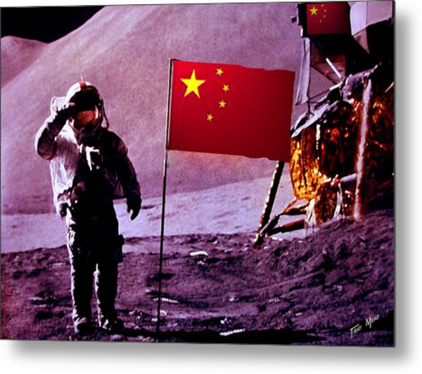 China On The Moon Metal Print by Tray Mead