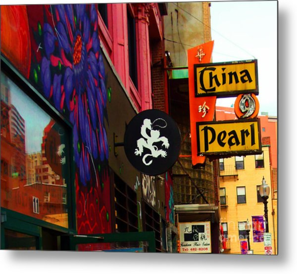 Metal Print featuring the photograph China Pearl Sign, Chinatown, Boston, Massachusetts by Lita Kelley