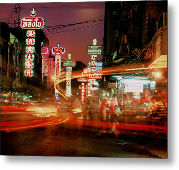 Chinatown In Bangkok Metal Print by Brad Rickerby