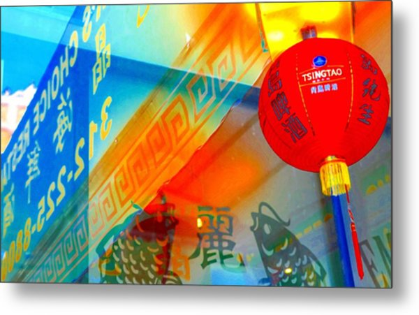 Metal Print featuring the photograph Chinatown Window Reflection 3 by Marianne Dow