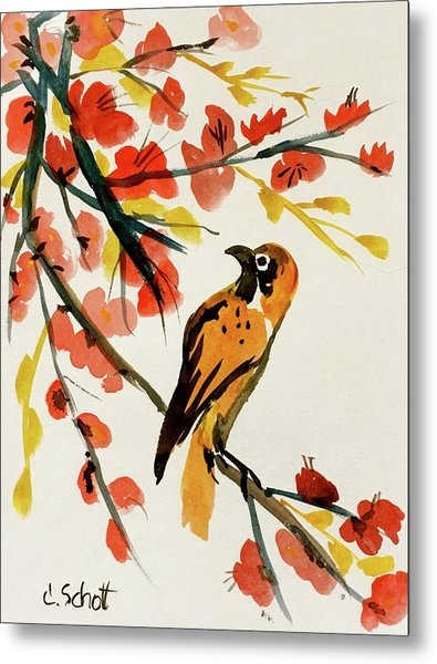 Chinese Bird With Blossoms Metal Print