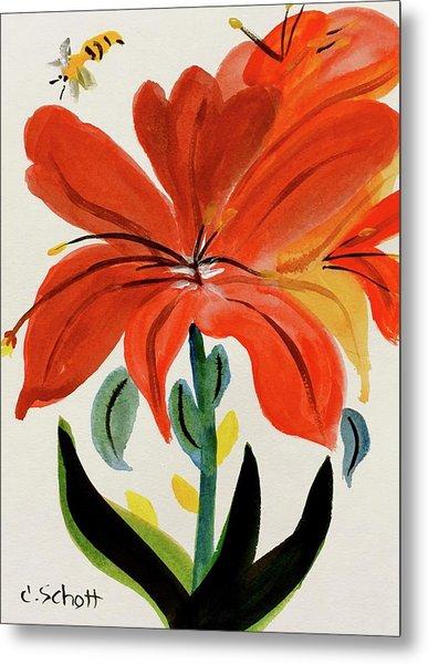 Chinese Brush Work Bee And Flower Metal Print