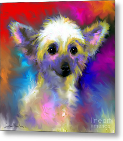 Chinese Crested Dog Puppy Painting Print Metal Print