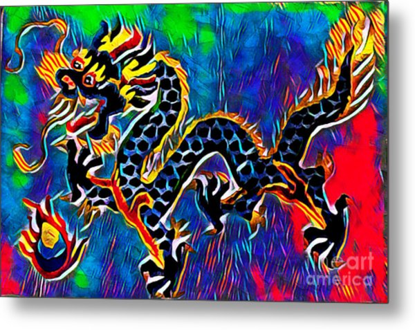 Metal Print featuring the mixed media Chinese Dragon by Lita Kelley