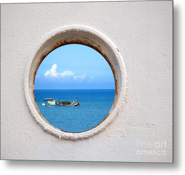 Chinese Fishing Boat Seen Through A Porthole Metal Print