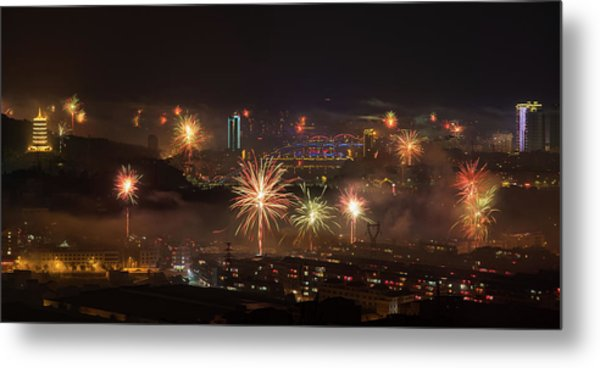 Metal Print featuring the photograph Chinese New Year Fireworks 2018 I by William Dickman