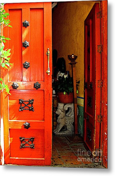 Chinese Red Shop Door Metal Print by Mexicolors Art Photography