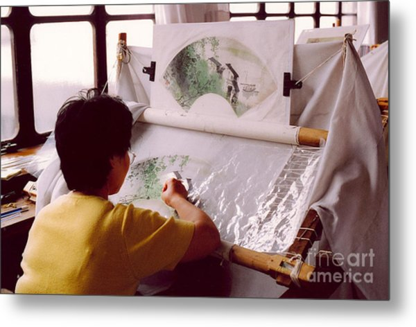 Chinese Silk Metal Print by Andrea Simon