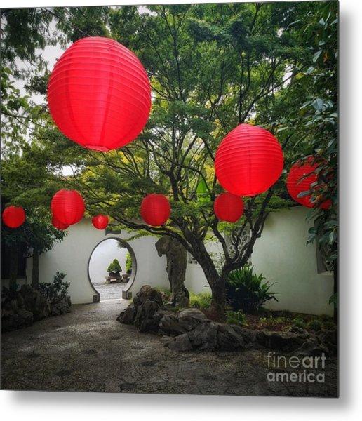 Chinese Tea Garden In Portland, Oregon Metal Print
