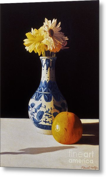 Chinese Vase And Orange Metal Print by Daniel Montoya