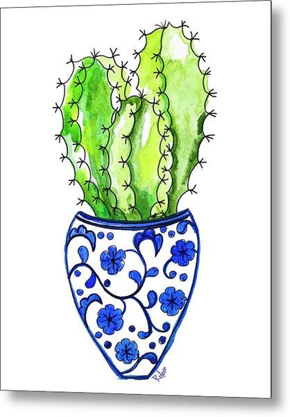 Chinoiserie Cactus No3 Metal Print