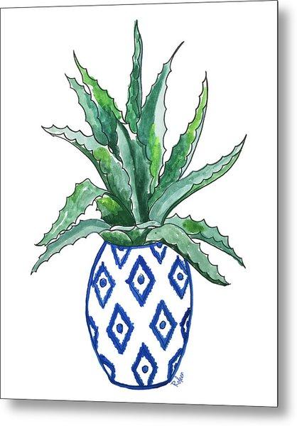Chinoiserie Cactus Metal Print