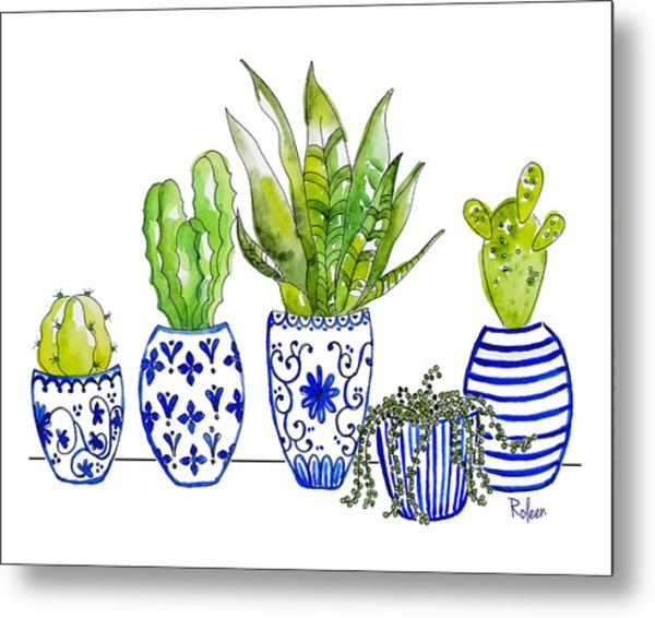 Chinoiserie Collected Metal Print