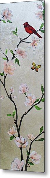 Chinoiserie - Magnolias And Birds #3 Metal Print