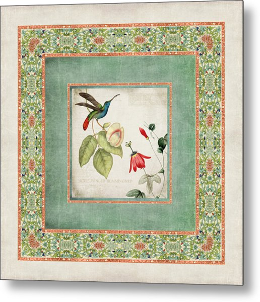 Chinoiserie Vintage Hummingbirds N Flowers 2 Metal Print