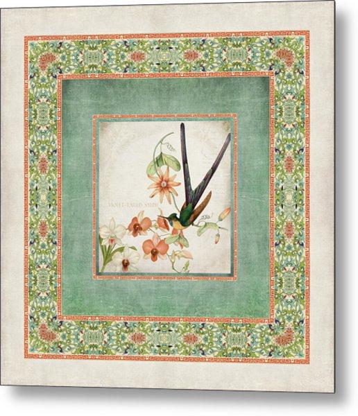 Chinoiserie Vintage Hummingbirds N Flowers 3 Metal Print