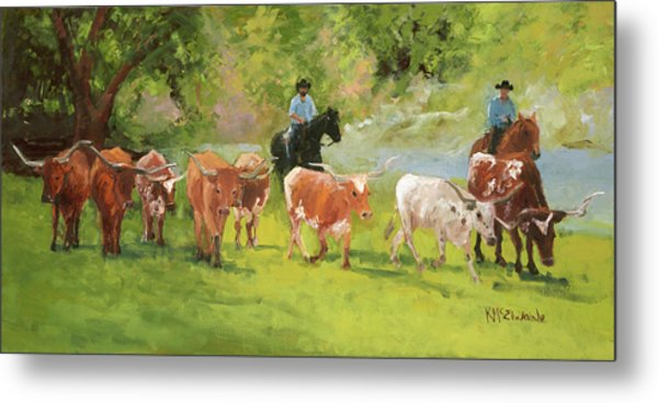 Chisholm Trail Texas Longhorn Cattle Drive Oil Painting By Kmcelwaine Metal Print