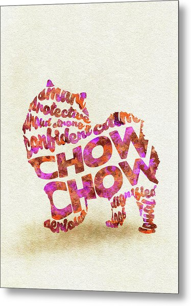 Chow Chow Watercolor Painting / Typographic Art Metal Print