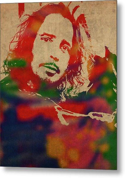 Chris Cornell Soundgarden Watercolor Portrait Metal Print