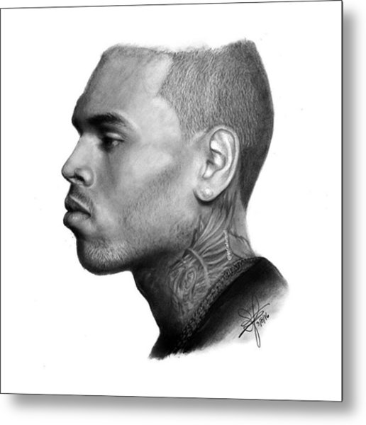 Chris Brown Drawing By Sofia Furniel Metal Print