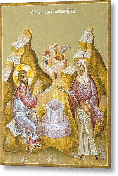 Christ And The Samaritan Woman Metal Print by Julia Bridget Hayes
