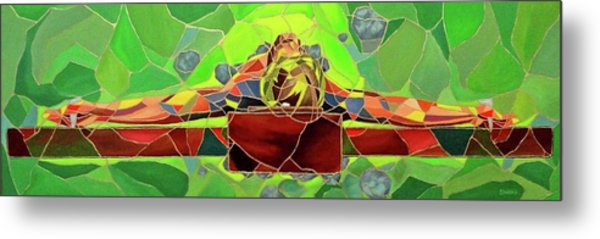 Christ In Stained Glass Metal Print