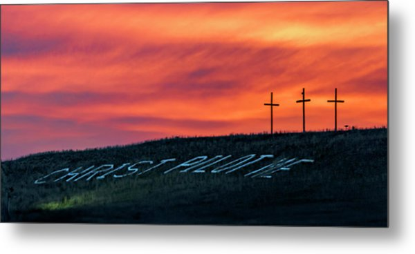 Christ Pilot Me Hill Metal Print