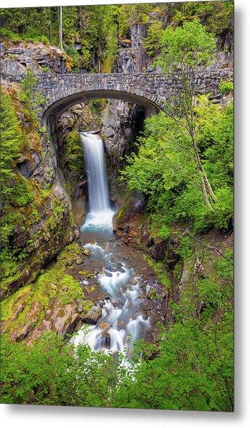 Christine Falls Under Bridge In Mt Rainier National Park Metal Print