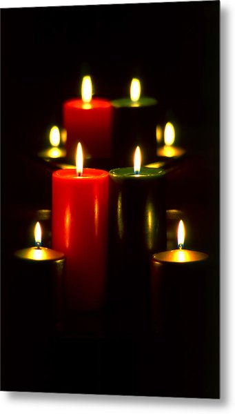 Christmas Candles 5 Metal Print by Steve Ohlsen