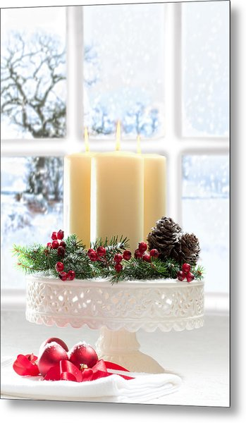Christmas Candles Display Metal Print